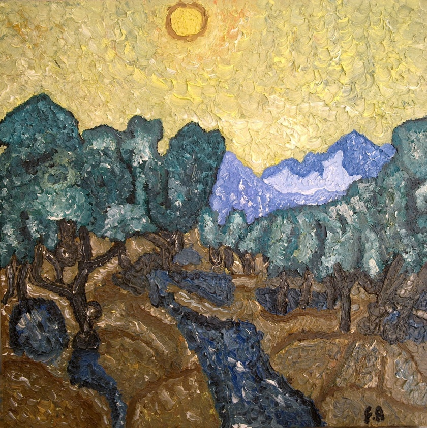 Olive Trees with Yellow Sky